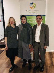 Stiftungsmanagerin Dina Schreiber, Leiterin Saheb Amena Mohammadi , Stiftungsvorstand Nader Etmenan
